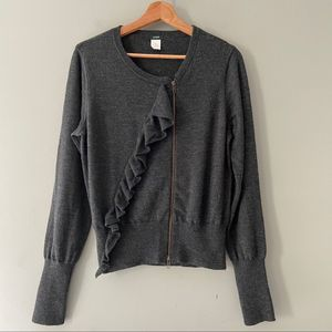 J.Crew Merino Ruffle Moto Sweater XL Grey